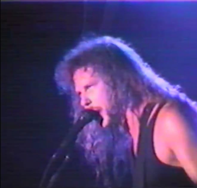 "Metallica frontman James Hetfield leads the heavy metal band through ""Harvester of Sorrow"" on August 7, 1989 at The Stone Balloon Tavern and Concert Hall in Newark."