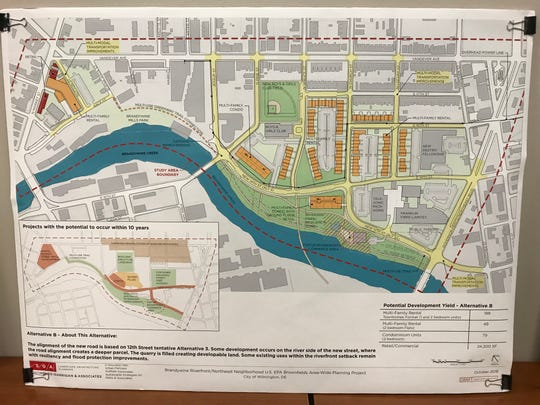 A second proposed redevelopment plan for an area of Northeast Wilmington along the Brandywine River. Housing is shown in orange.