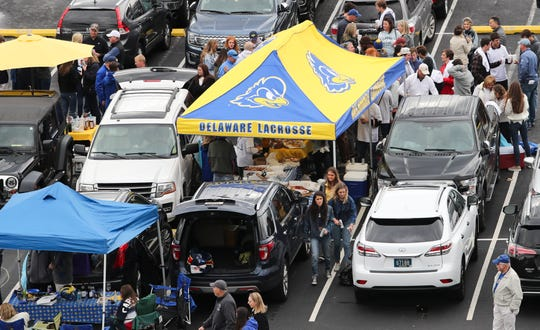 Tailgaters gather at Delaware Stadium before the Hens took on Elon Saturday.