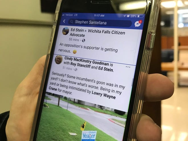 """A Facebook user posted Wednesday morning a photo of a torn Lowry Crane campaign sign. Crane is running against Wichita Falls Mayor Stephen Santellana, who shared the post and, while pondering if the photo was staged, said this """"is upsetting to me. Signs are not cheap and the effort to place them around Wichita Falls is not easy."""""""