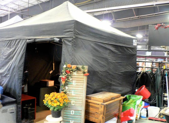 A tent close up - for storage, eating or sleeping.