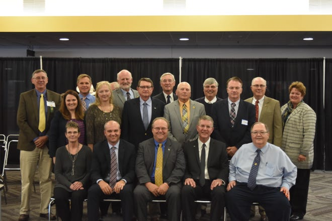The new 2018-2019 National Dairy Shrine board of directors was seated at the 69th annual meeting of the National Dairy Shrine, and includes front row from left,  Linda Hansen, Nate Janssen, Larry Schirm, Dan Bernick, and David Selner. Back row from left,  Jim Dickrell, Leah Ziemba, Madison, Wisconsin Matt Iager, Bonnie Bargstedt, Ken Raney, Fowler Branstetter, Dennis Funk,  Sun Prairie, Wisconsin, James Huffard, Royce Thornton, Stan Henderson, Randy Gross, and Janet Keller, Oregon, Wisconsin.