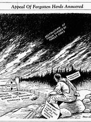 A sad commentary on the whole Dust Bowl situation by Sheboygan Press artist Clarence Klessig.