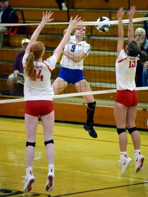 Paige Webb soars for a kill during the third set of Maysville's 25-16, 25-12, 25-21 win against Lisbon Beaver Local on Tuesday night at River View High School.