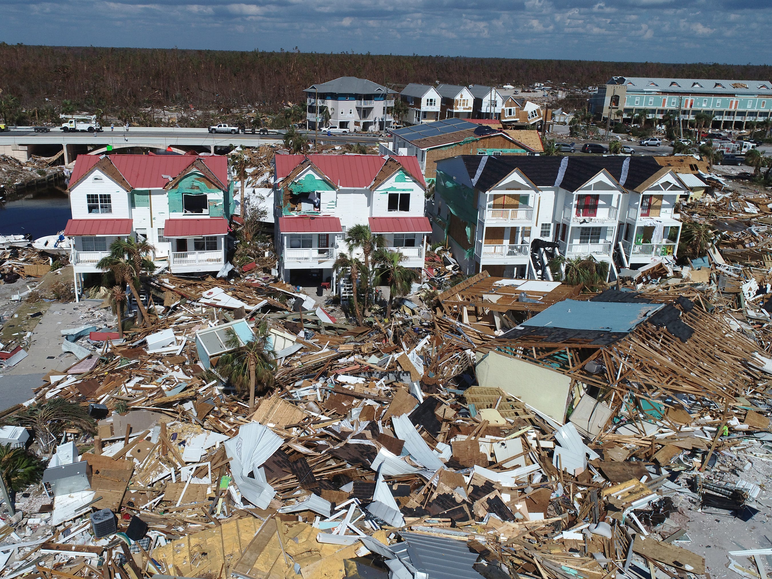 An Aerial view of the devastating impact Hurricane Michael left behind along the Florida Panhandle's coastal town of Mexico Beach, Oct. 16, 2018.