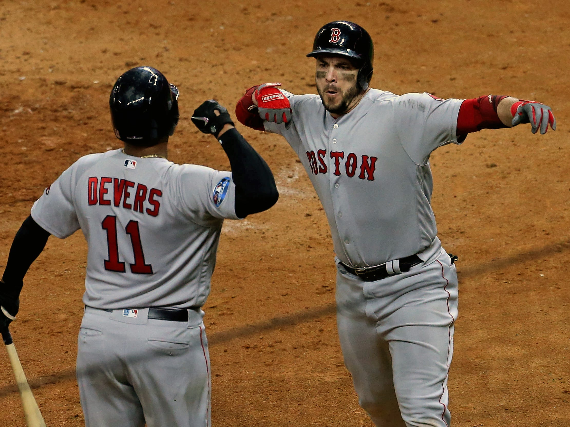 ALCS Game 3: Red Sox first baseman Steve Pearce hits a solo home run in the sixth inning.