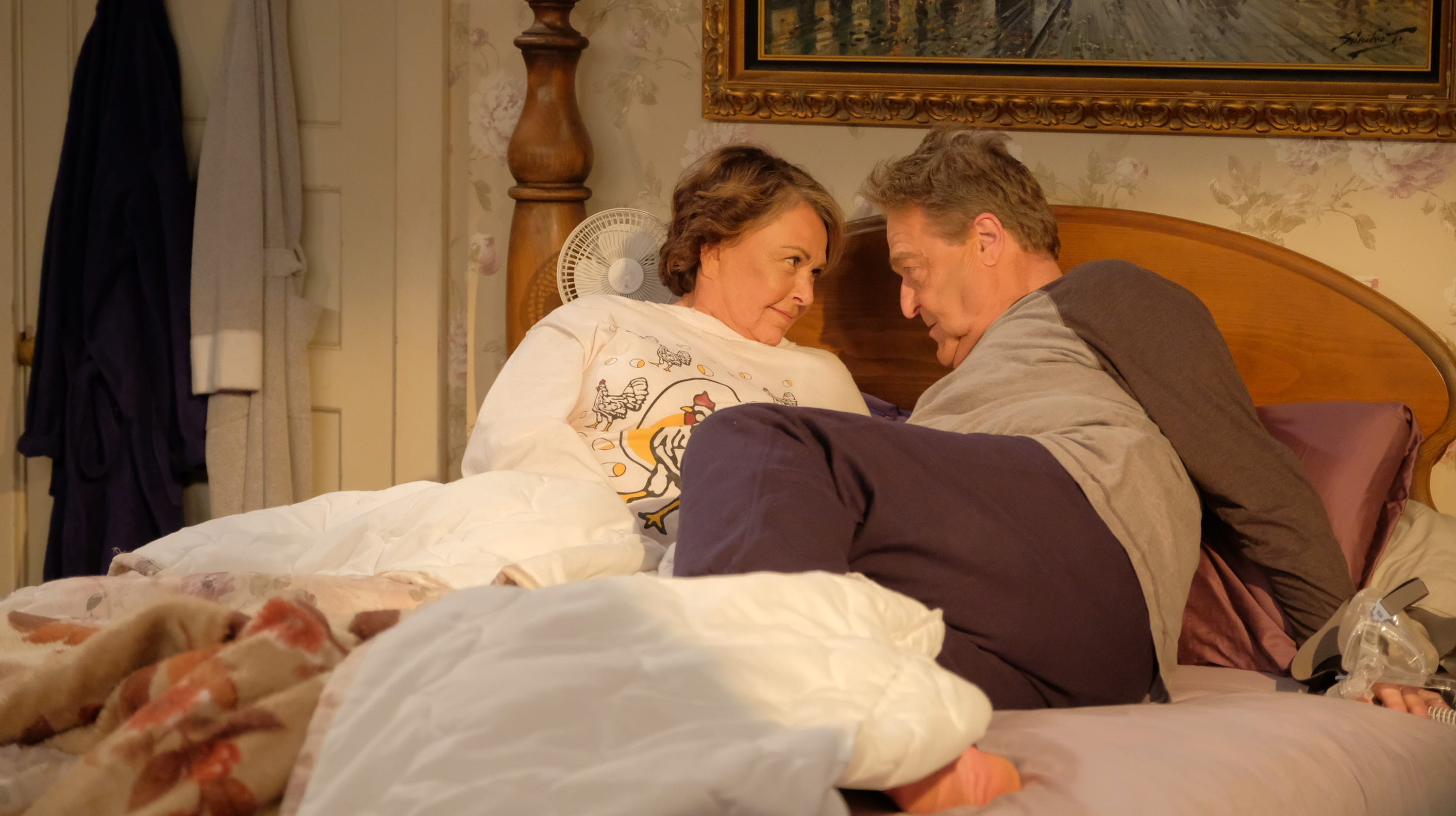 Fans learned the fate of Roseanne Conner (Roseanne Barr), left, seen with husband Dan (John Goodman) in last season's 'Roseanne' revival, in Tuesday's premiere of ABC's 'The Conners.'