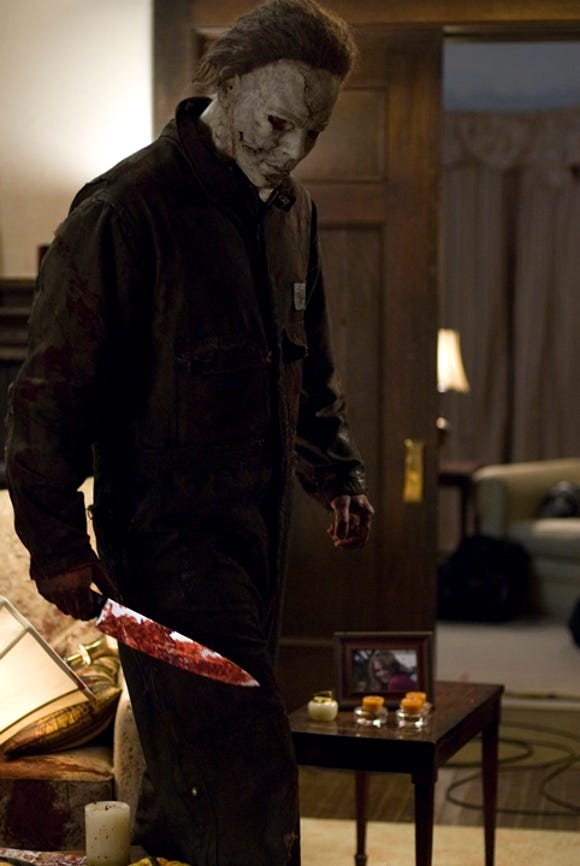 "Michael Myers (Tyler Mane) doesn't go anywhere without a knife in Rob Zombie's ""Halloween."""