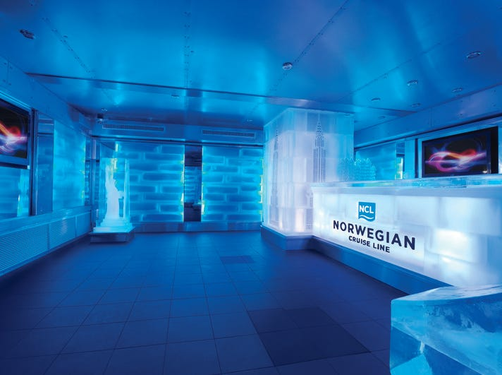 "The ""coolest"" bar on the high seas may be the ice bar found on Norwegian Cruise Line's Norwegian Breakaway. It debuted in 2012."
