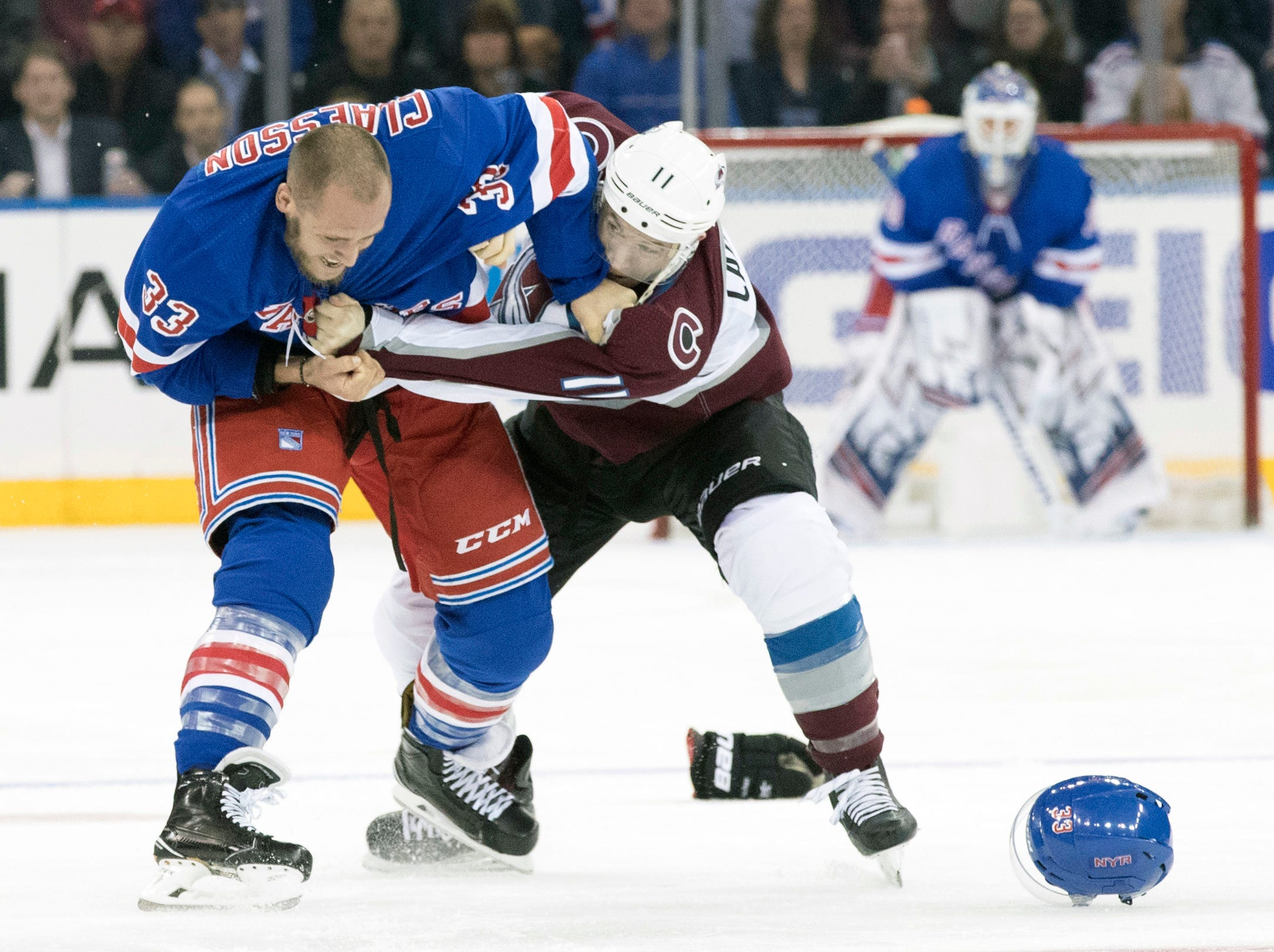 Oct. 16: The Rangers' Fredrik Claesson vs. the Avalanche's Matt Calvert.