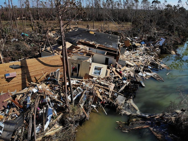 A destroyed house sits in debris and rubble in the aftermath of Hurricane Michael on Oct. 17, 2018 in Mexico Beach, Fla.