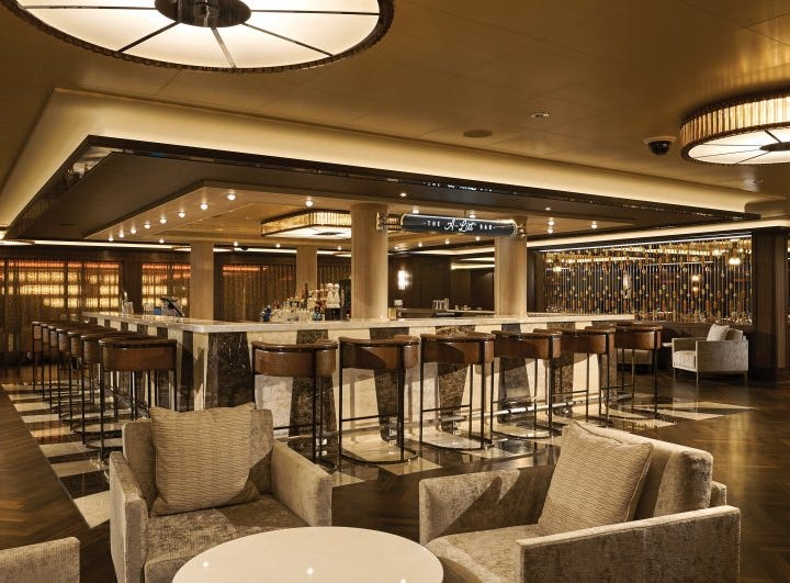 Among other stylish hideaways on Norwegian Cruise Line's new Norwegian Bliss is the A-List Bar. Its name is an oblique reference to Norwegian Cruise Line's current CEO Andy Stuart.