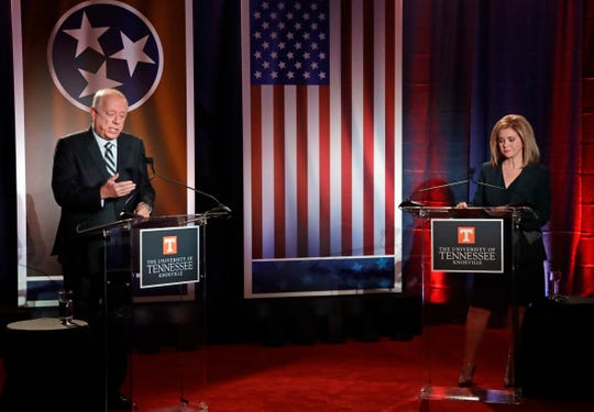 Democratic candidate and former Gov. Phil Bredesen and Republican U.S. Rep. Marsha Blackburn take part in the 2018 Tennessee U.S. Senate Debate at The University of Tennessee Wednesday, Oct. 10, 2018, in Knoxville, Tenn. (AP Photo/Mark Humphrey) ORG XMIT: TNMH1