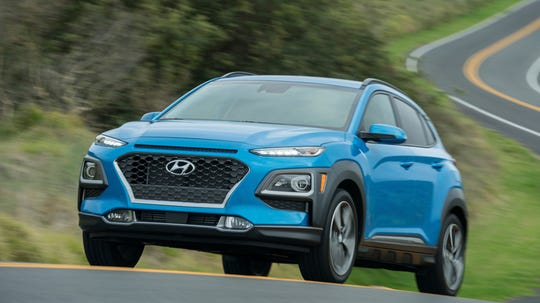 This undated photo provided by Hyundai shows the 2019 Hyundai Kona, one of the newest subcompact crossovers. Crossovers are more expensive than comparably sized sedans or hatchbacks, so buyers on a tight budget might only be able to afford an SUV in the subcompact class. Among them, we think the Hyundai Kona is the best of the lot. (Courtesy of Hyundai Motor America via AP)