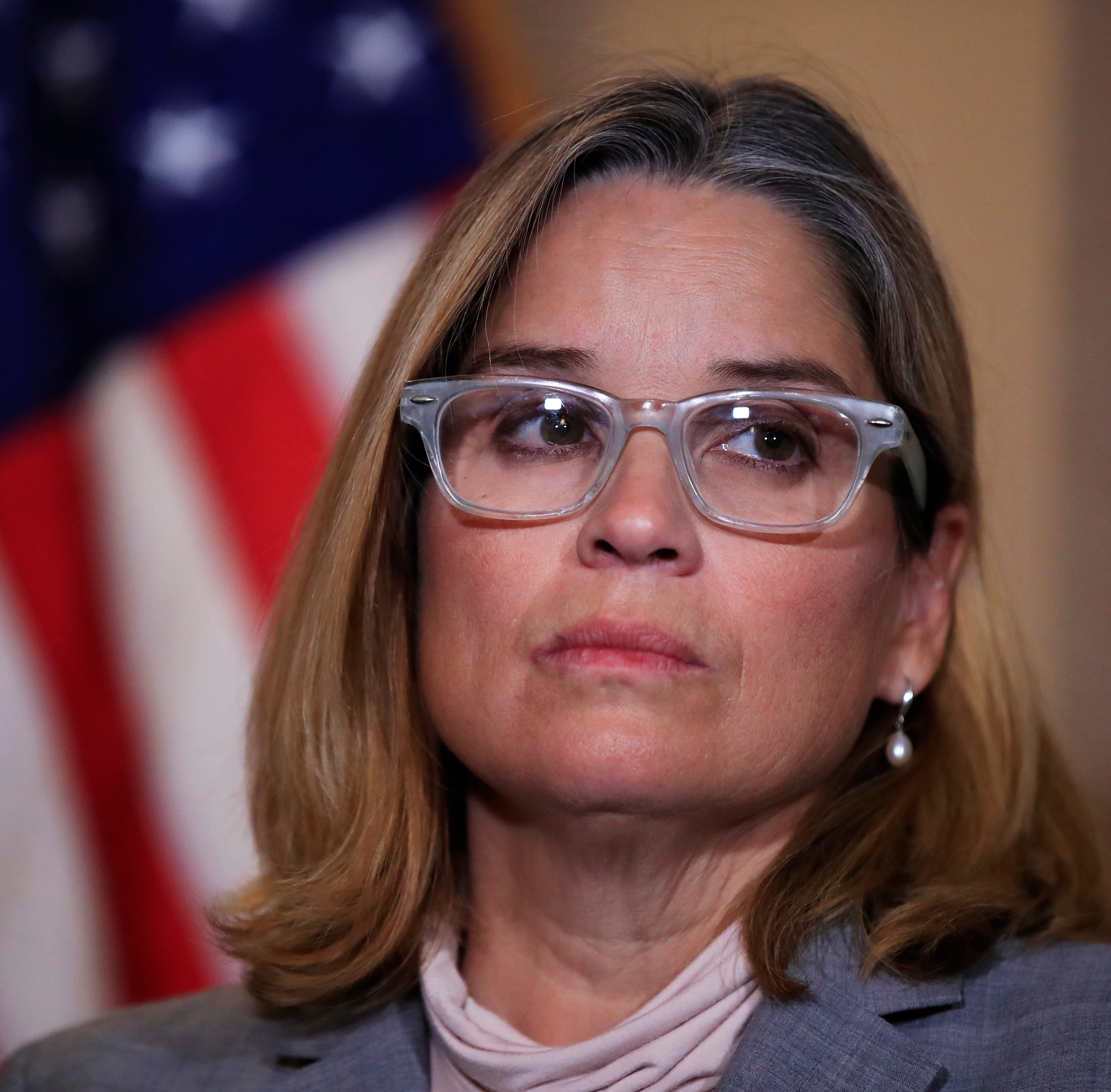 San Juan, Puerto Rico, Mayor Carmen Yulín Cruz, attends a House Democratic Leaders news conference with Democratic Caucus Chairman Rep. Joe Crowley, D-N.Y., on Capitol Hill in Washington, on Nov. 1, 2017.