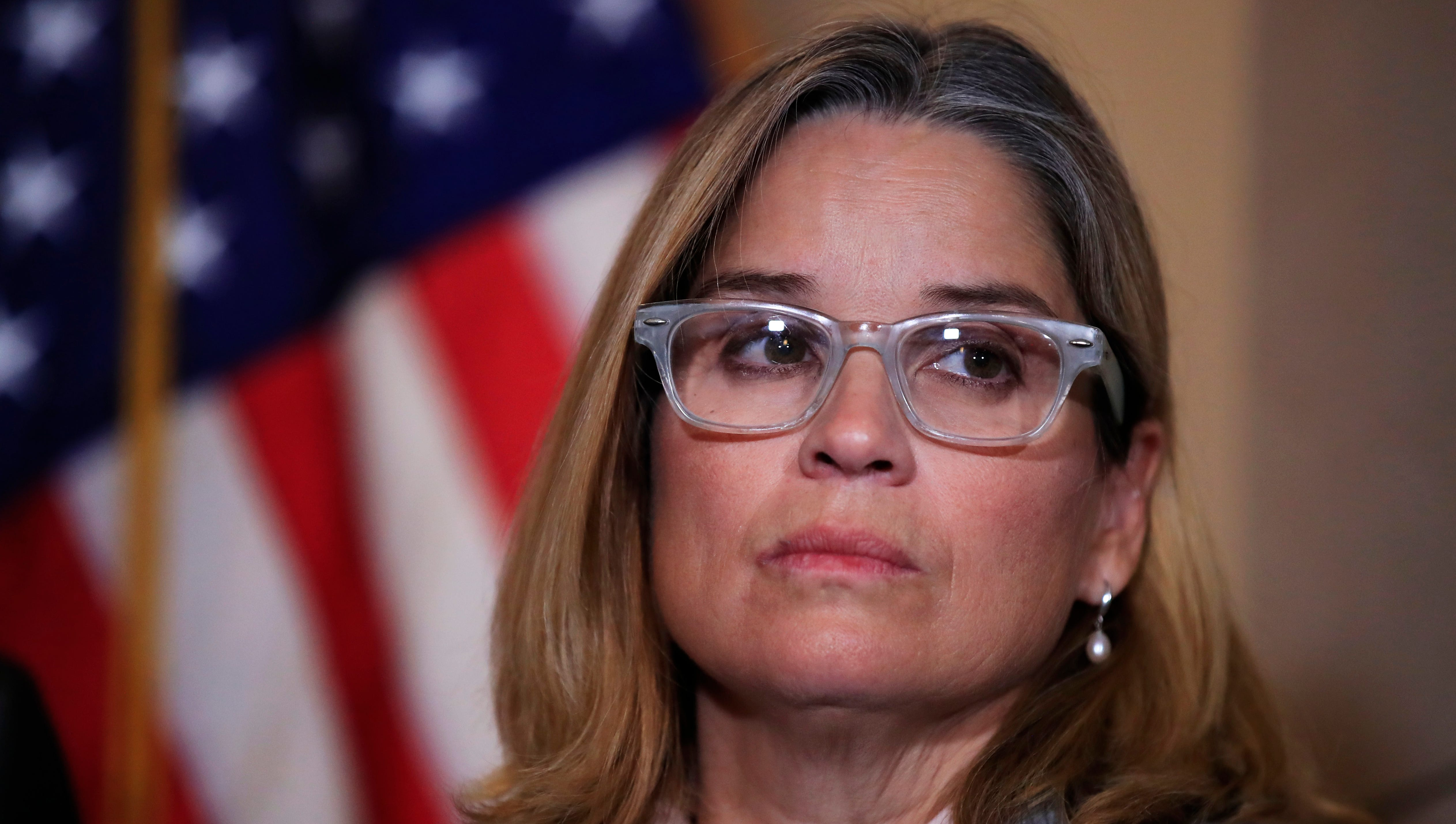 San Juan, Puerto Rico, Mayor Carmen Yulín Cruz, attends a House Democratic Leaders news conference with Democratic Caucus Chairman Rep. Joe Crowley, D-N.Y., on Capitol Hill in Washington, on Nov. 1, 2017.