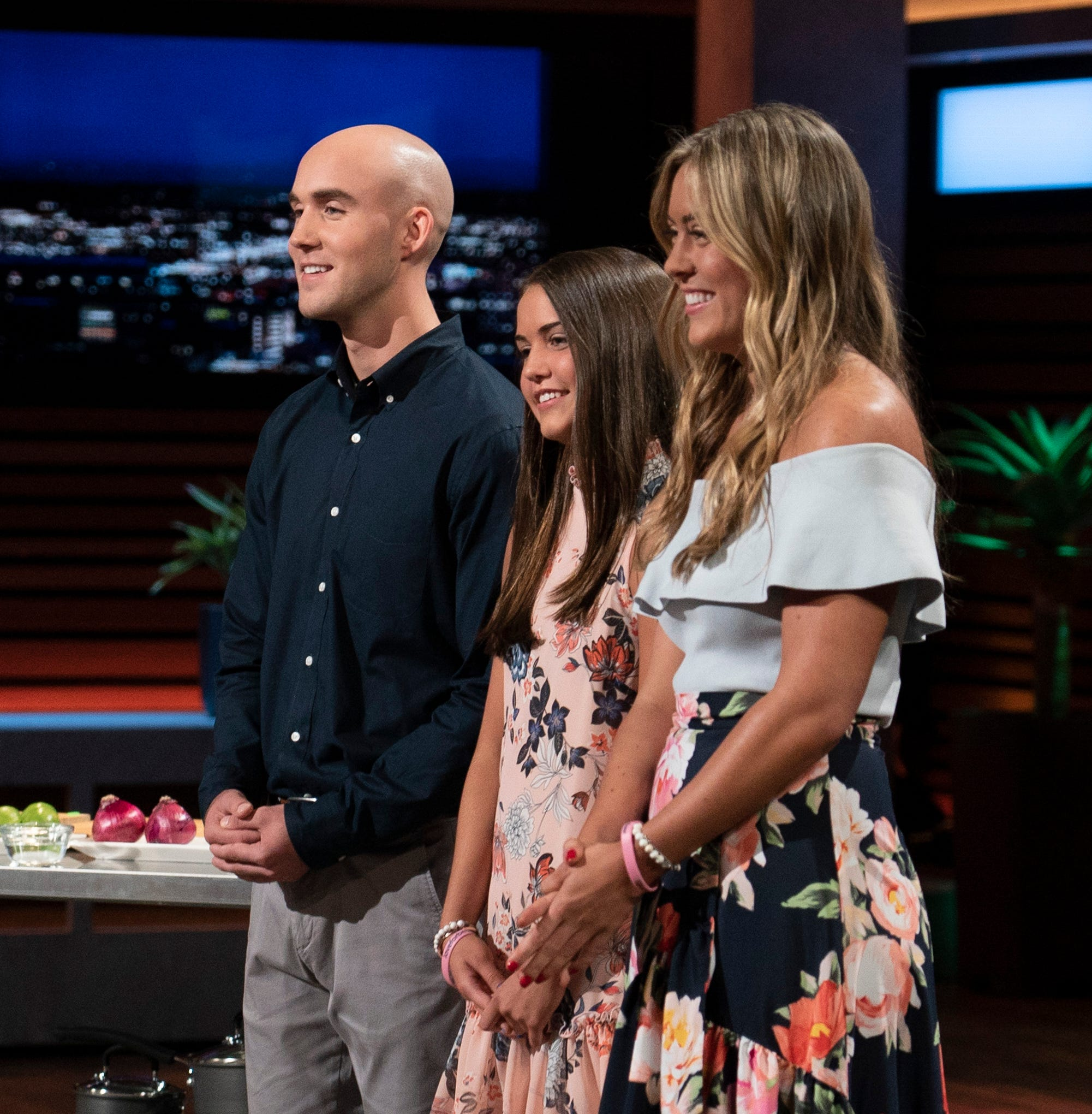 Christian, Keira and Kaley Young, children of a late New York City firefighter, pitch Cut Board Pro, his kitchen product, to the sharks on ABC's 'Shark Tank.'