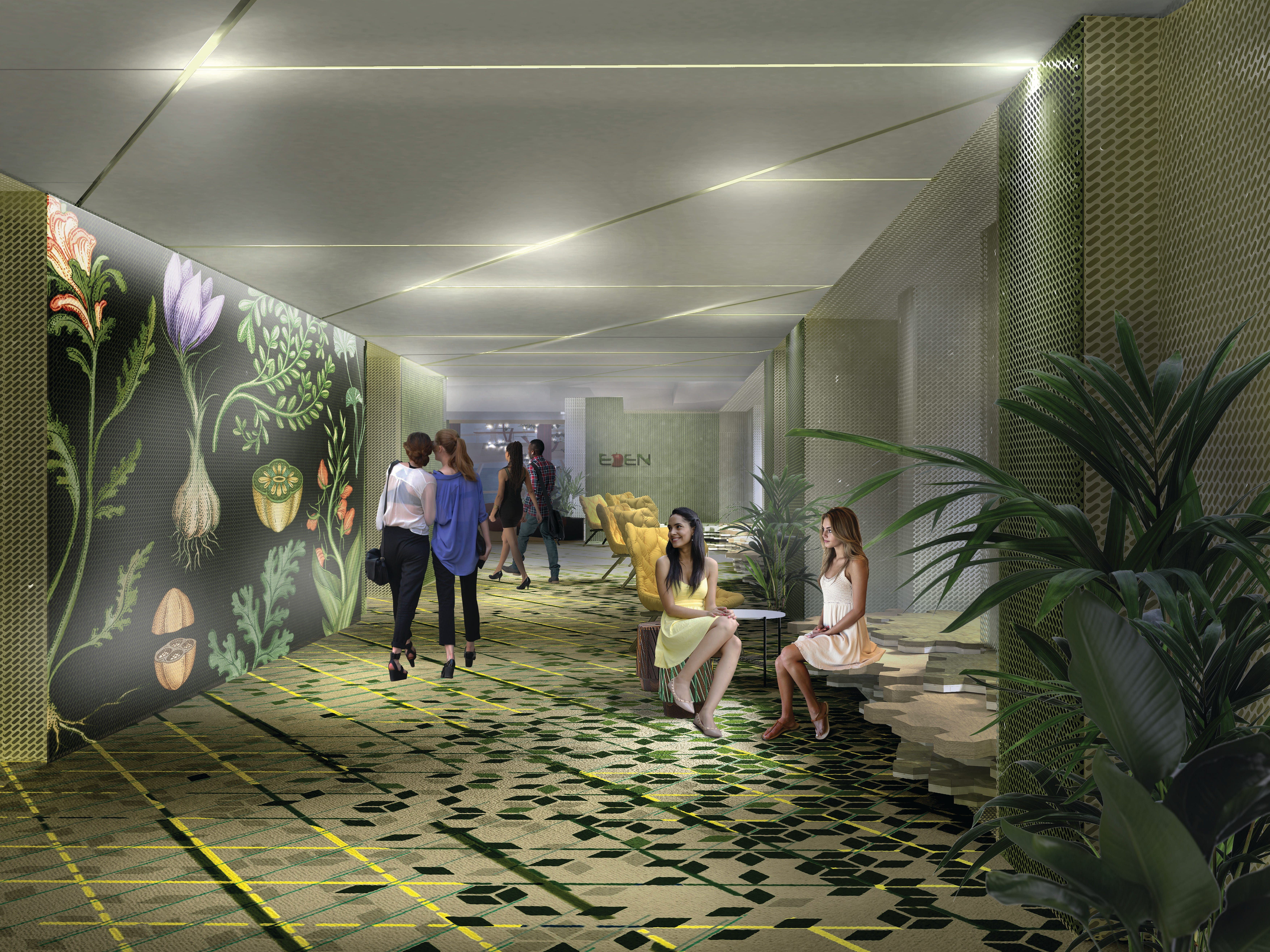 Upon entering Eden, passengers will be greeted by an animated botanic art installation designed by Kate Scott.