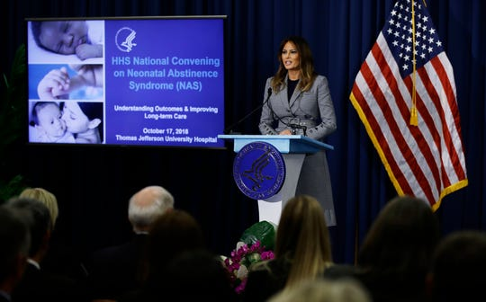 First lady Melania Trump speaks during a visit to Thomas Jefferson University Hospital in Philadelphia, Wednesday, Oct. 17, 2018.