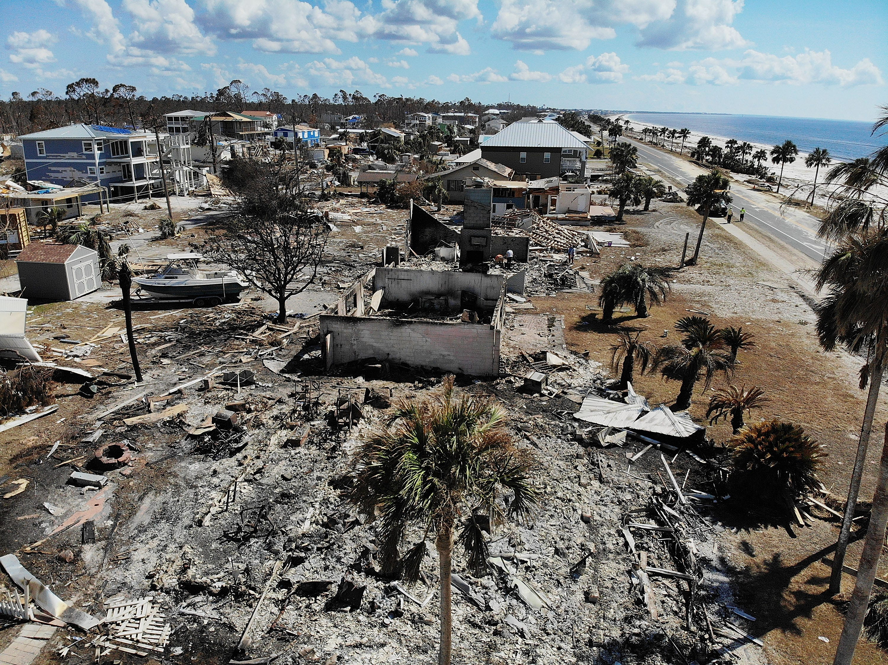 The aftermath of hurricane Michael is seen on Oct. 17, 2018 in Mexico Beach, Fla. The hurricane hit on October 10th along the Florida Panhandle as a category 4 storm causing massive damage and claimed the lives of more then a dozen people.