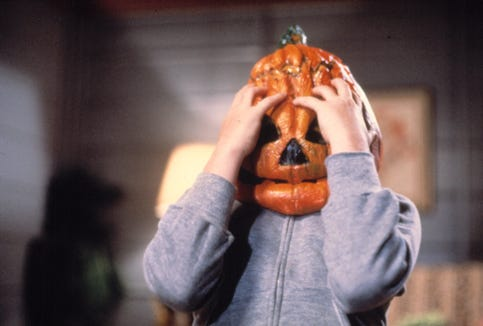"Bradley Schachter stars as a boy who has an unfortunate incident with his pumpkin mask in ""Halloween III: Season of the Witch."""