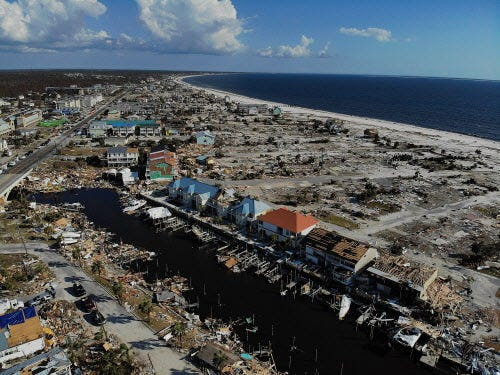 Hurricane Michael damage is seen on Oct. 17, 2018, in Mexico Beach, Florida.