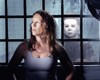 "Laurie Strode (Jamie Lee Curtis) is menaced yet again by Michael Myers in ""Halloween: Resurrection."""