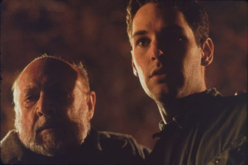 "Dr. Loomis (Donald Pleasence, left) reconnects with Tommy Doyle (Paul Rudd) in ""Halloween: The Curse of Michael Myers."""