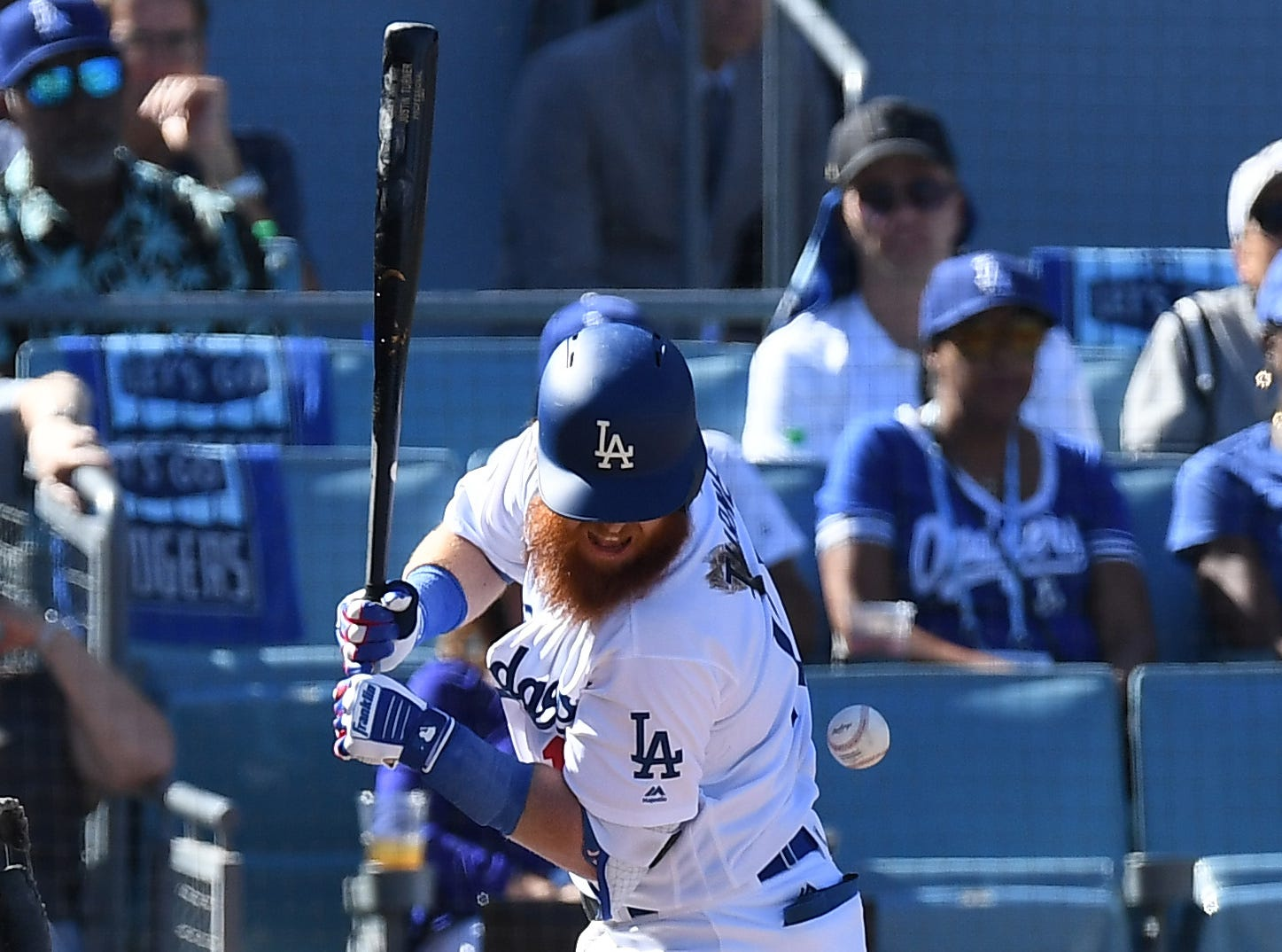 NLCS Game 5: Justin Turner gets hit by a pitch in the first inning.