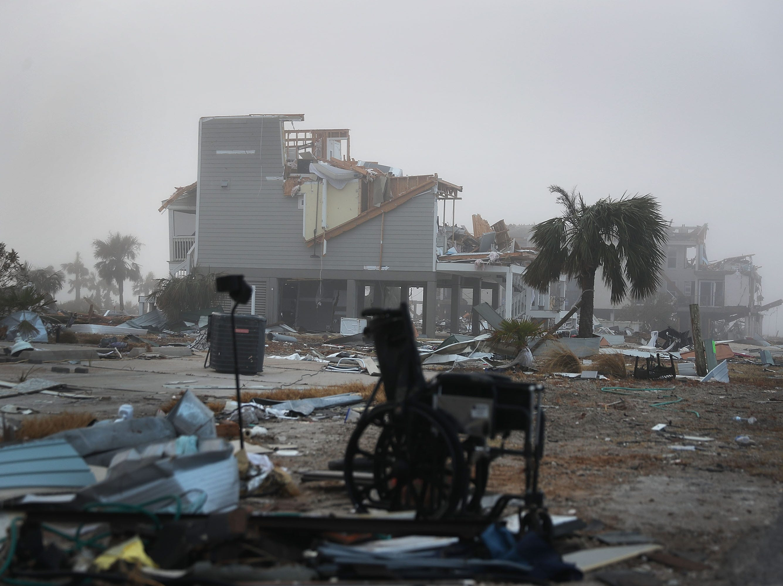 Destroyed houses sit in debris and rubble in the aftermath of Hurricane Michael on Oct. 17, 2018 in Mexico Beach, Fla.