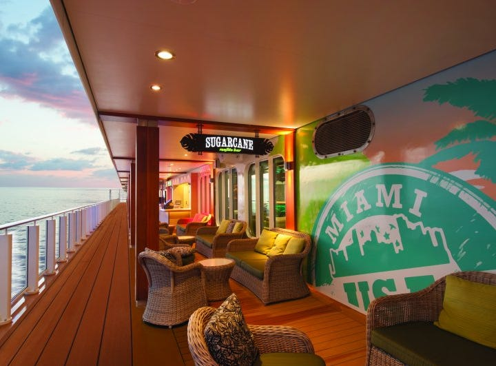 The Sugarcane Mojito Bar on Norwegian  Getaway is an inside-outside venue with seating along the vessel's open-air, bar-lined Waterfront.