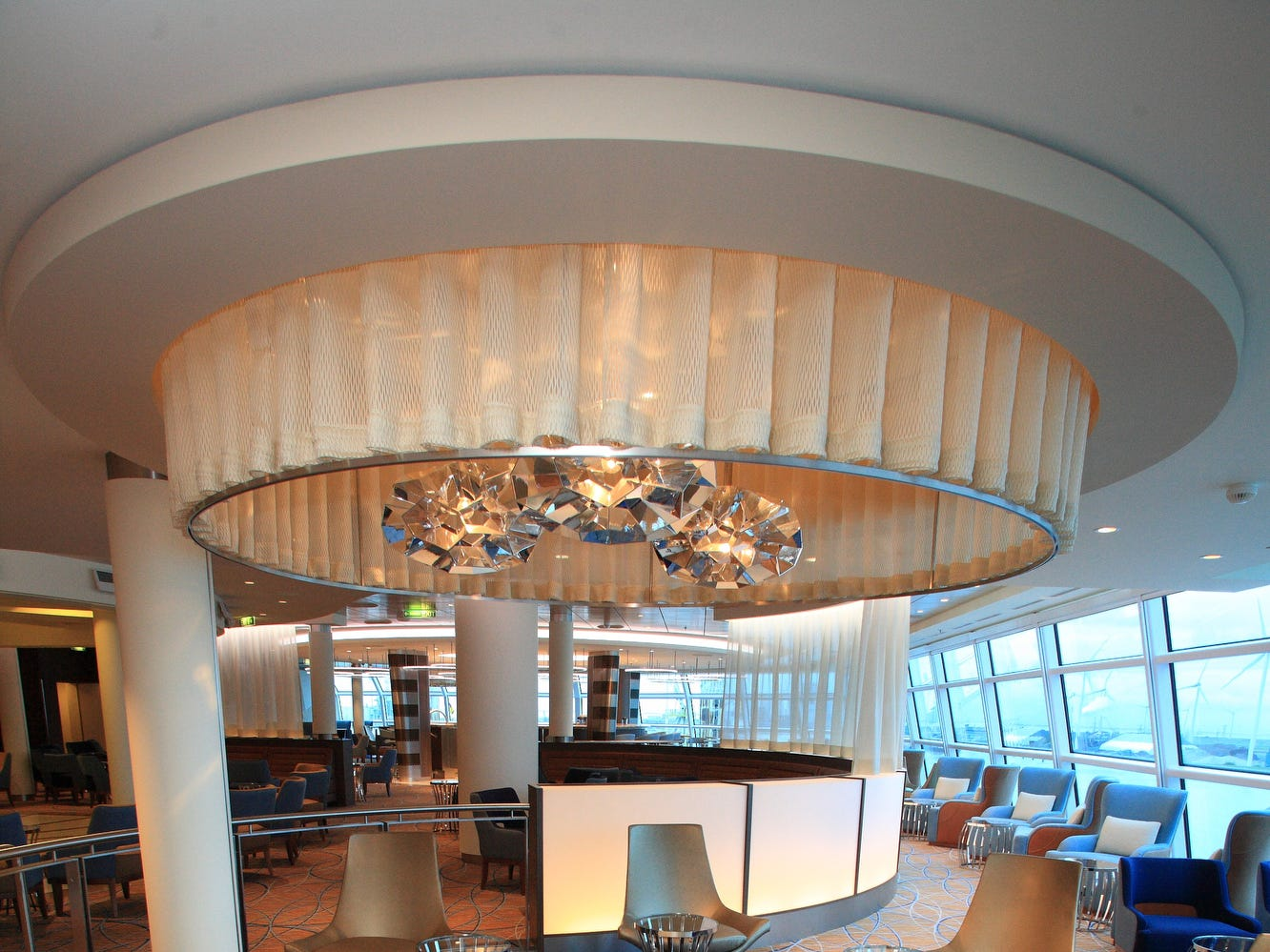 High design has been a trademark of Celebrity Cruises bars for years. Here, the glass-enclosed Sky Bar at the top of the line's 2012-built Celebrity Reflection.