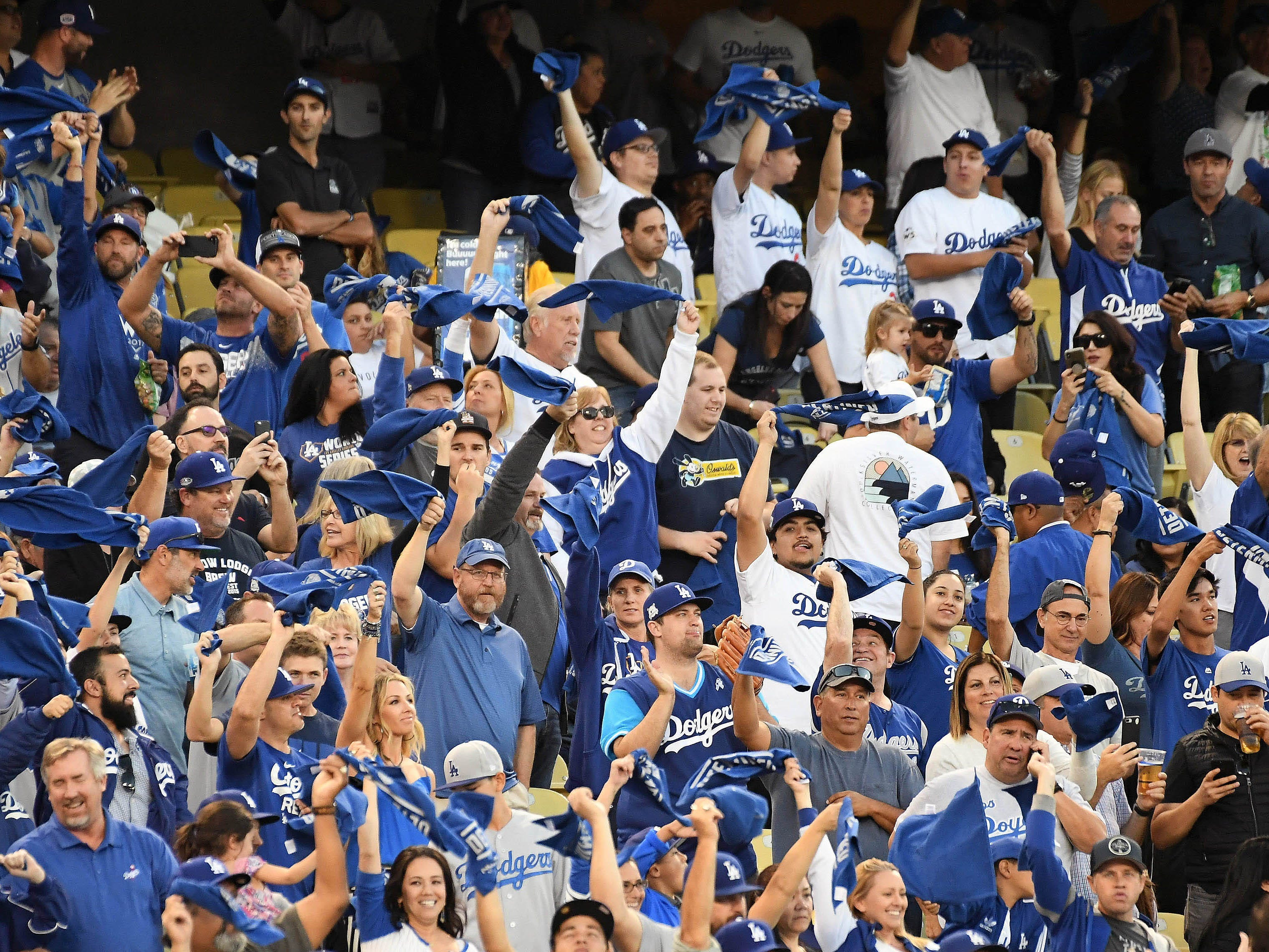 NLCS Game 4: Dodgers fans show their energy before the game.
