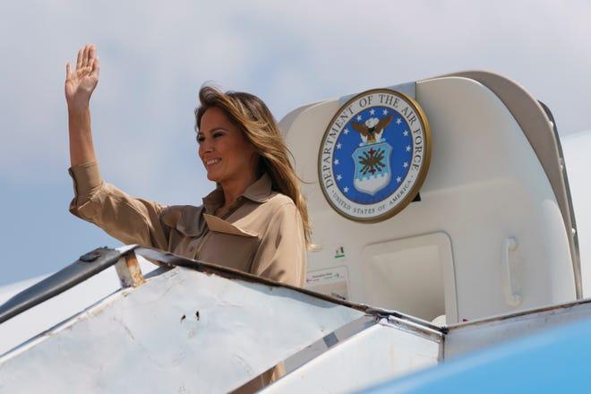 First lady Melania Trump arrives at Lilongwe International Airport, in Lumbadzi, Malawi, Thursday, Oct. 4, 2018.