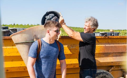 Bonj Jvi Grape Picking With Son Jesse Bongiovi