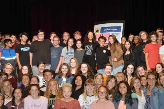 Broadway's Mandy Gonzalez (center) met with students at Southern Regional High School on Oct. 13.