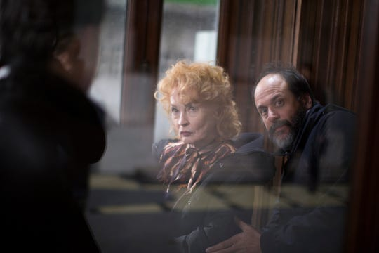 Ingrid Caven as Miss Vendegast and Director Luca Guadagnino on the set of Suspiria