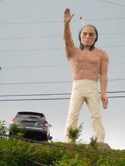 Chief Pontiac, the 23-foot-tall statue that stood at Harry's on the Hill car dealership for 50 years, had become faded and worn before its removal in July.