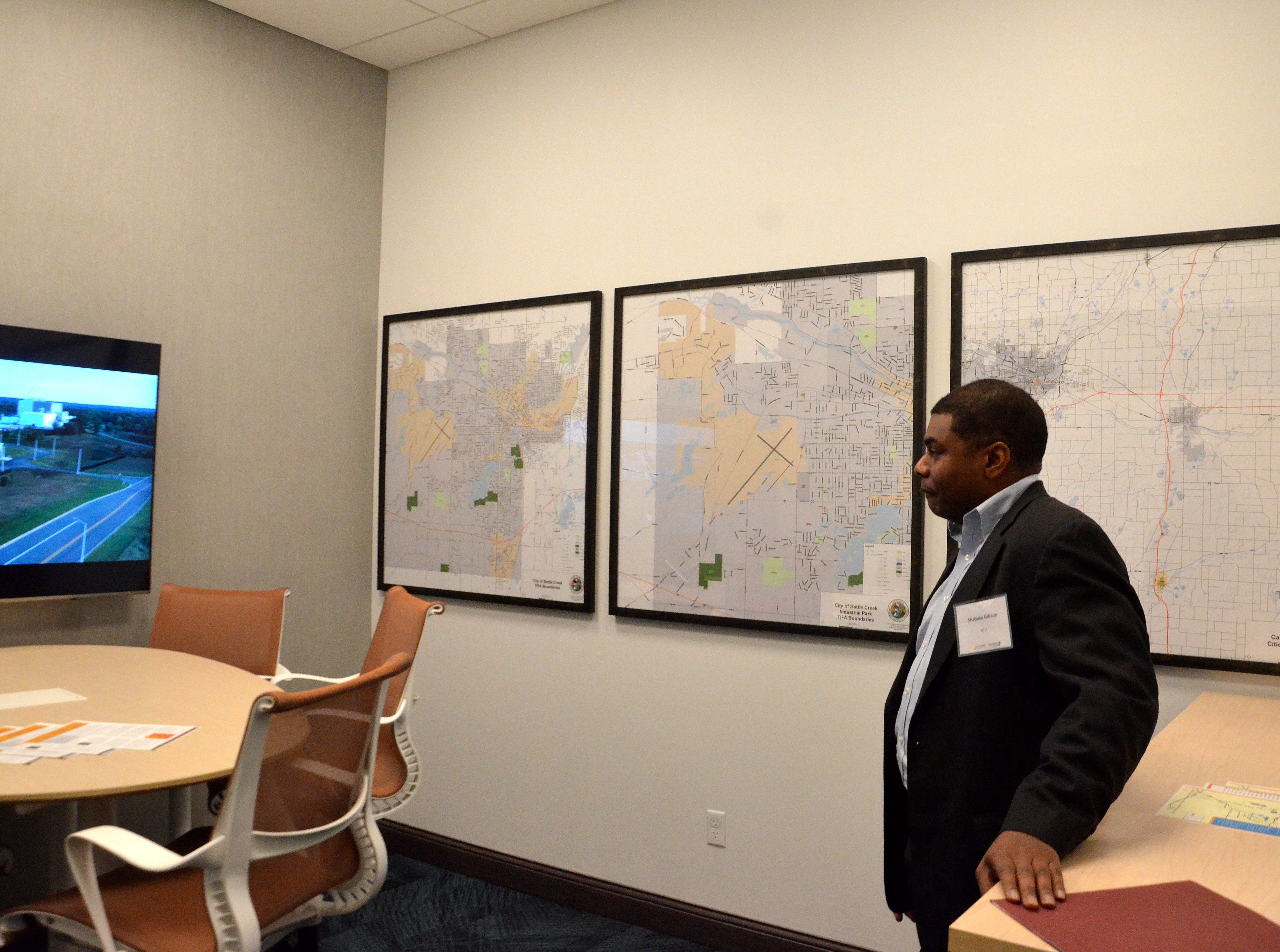 "Titled ""The War Room,"" Battle Creek Unlimited's new office space includes a room with maps of Fort Custer Industrial Park, the Tax Increment Finance Authority district boundaries and Calhoun County's cities and villages."