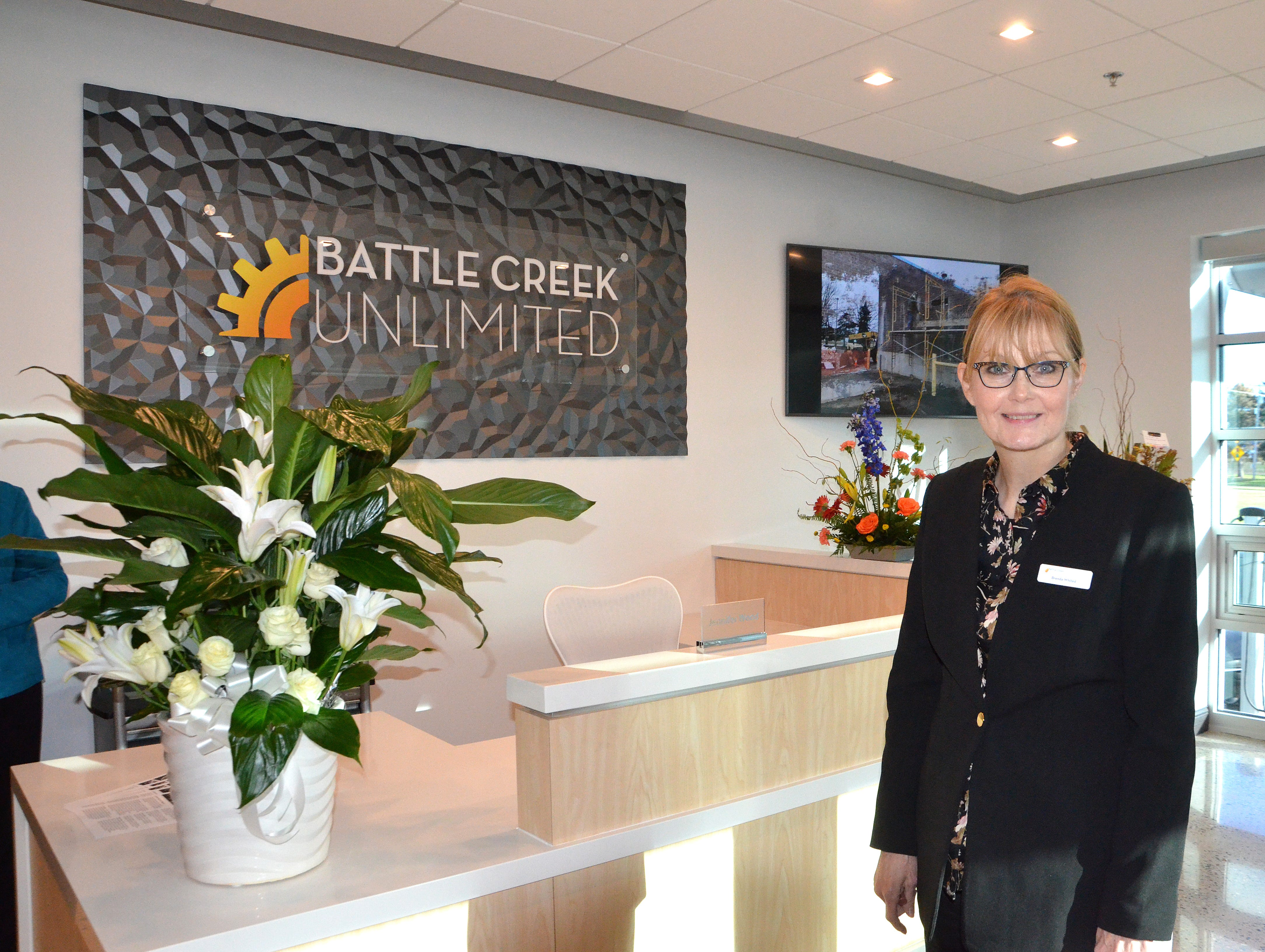The entrance to Battle Creek Unlimited's new office space will remain locked. There will be a reception area for visitors to await entry.
