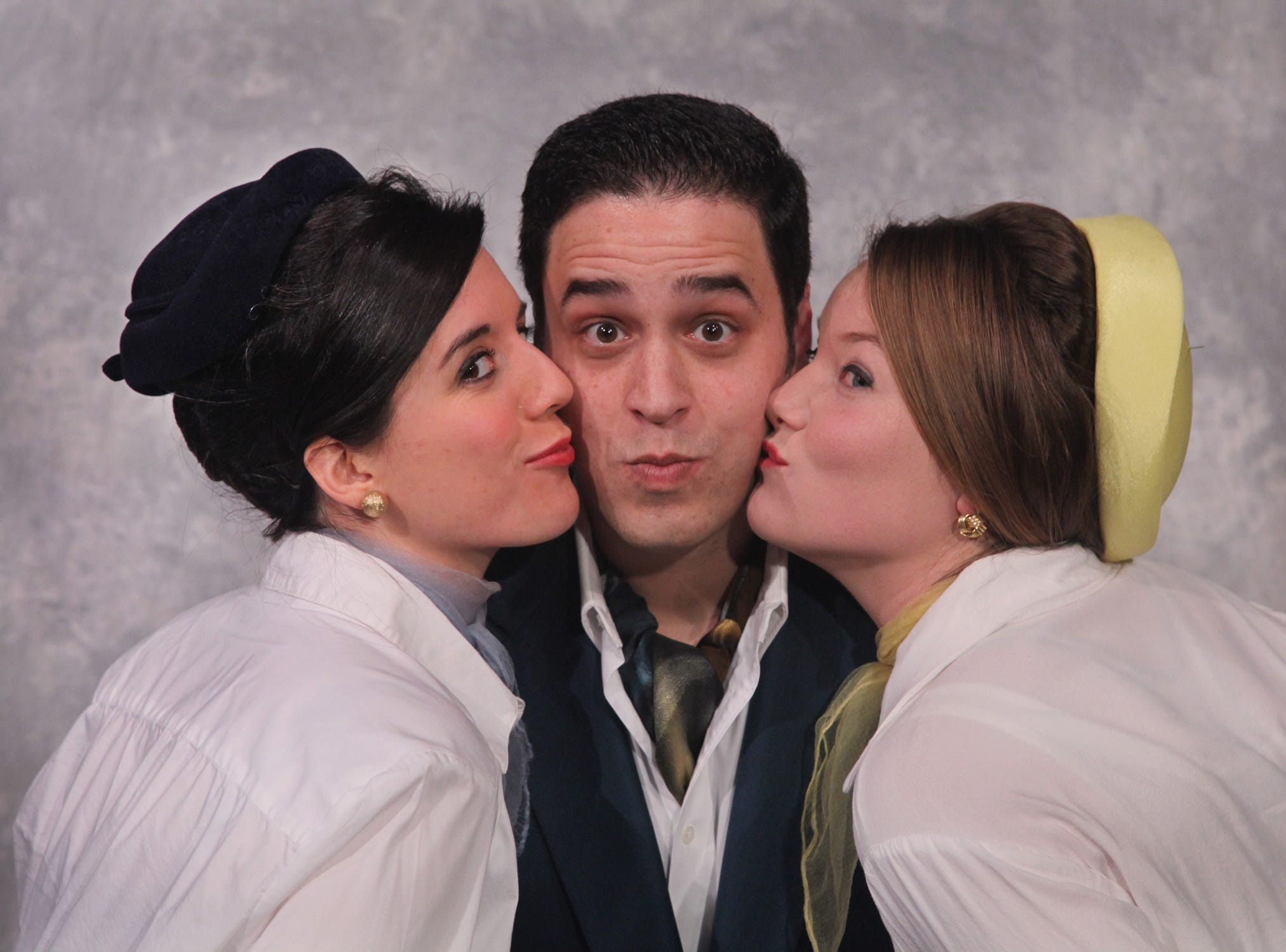 "Joanna Patchett, left, Ben Puglisi and Krystal Fess in the Cider Mill Playhouse production of ""Boeing-Boeing"" in 2012."