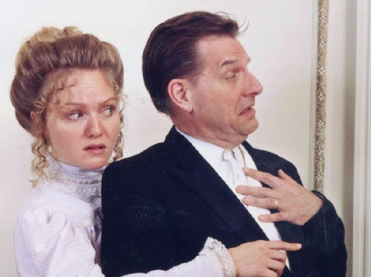 "Susannah Conn and Tom Kremer in Cider Mill Playhouse's production of ""A Flea in Her Ear"" in 2002."
