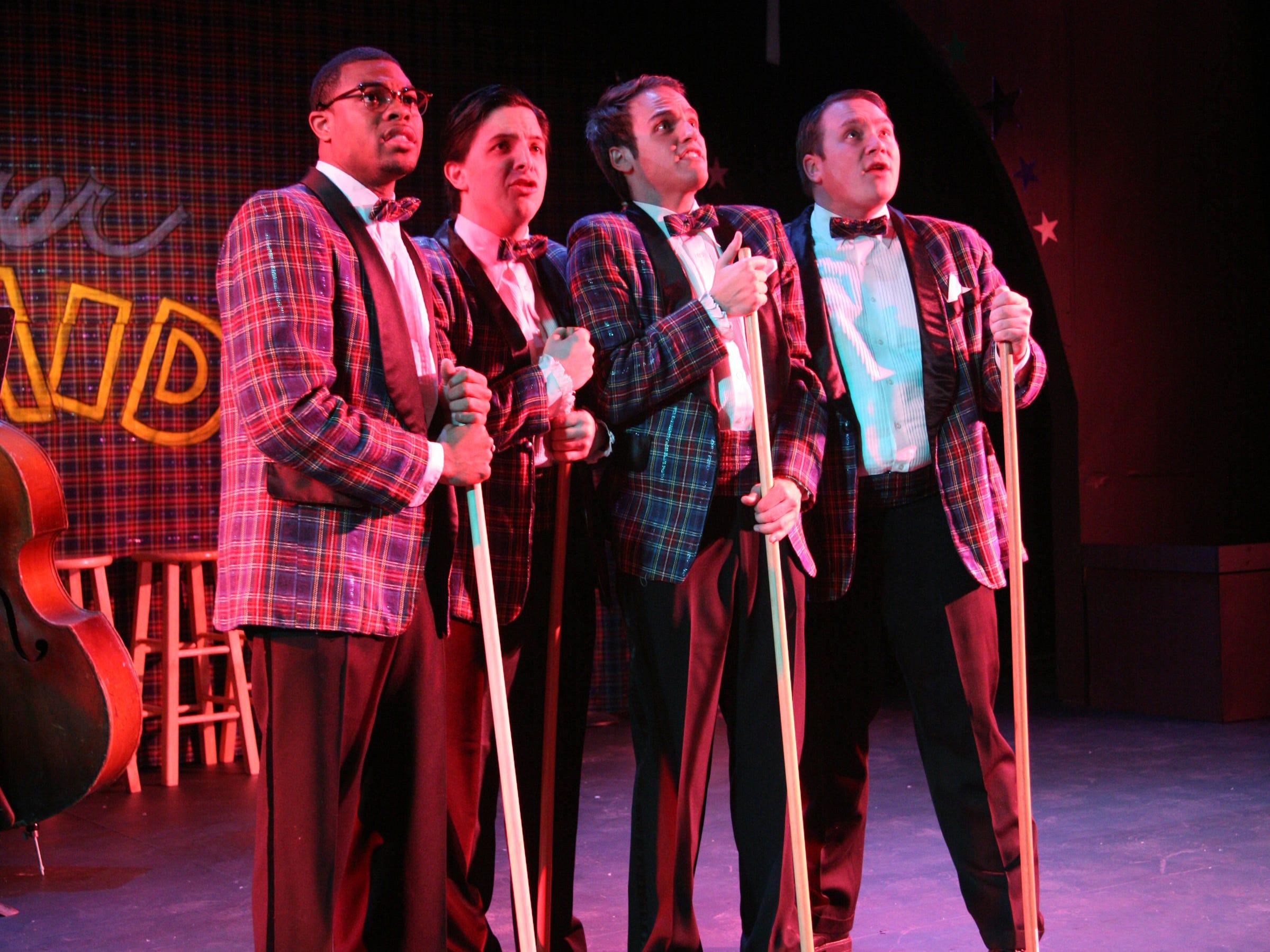 "The Cider Mill Playhouse's ""Plaid Tidings"" in 2009 was  Joshua Triplett, Jared Eberlein, Garrett Bruce and Joe Brainard."