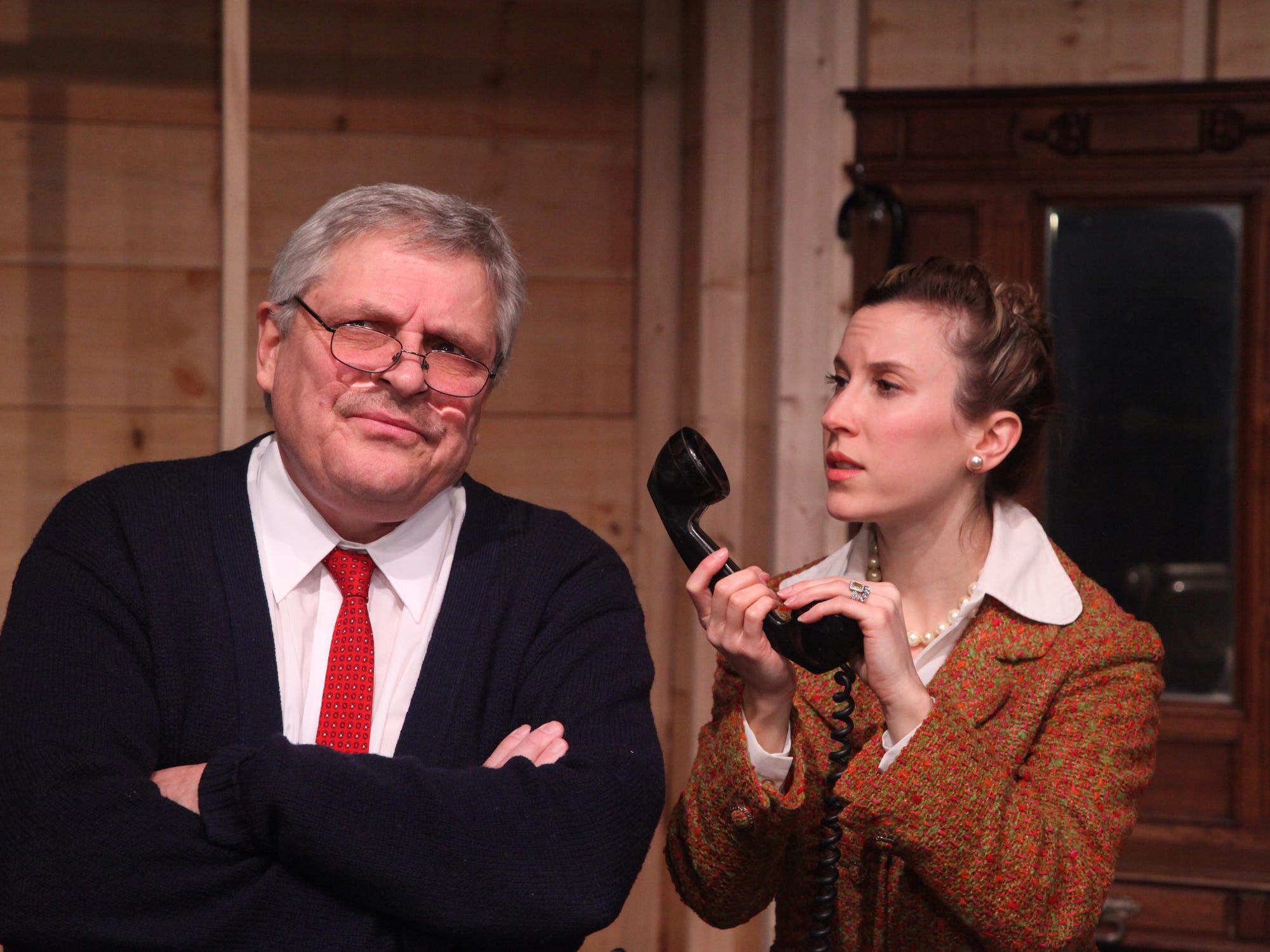"Paul Falzone and Marjorie Donovick in ""Trying"" at the Cider Mill Playhouse in 2013."