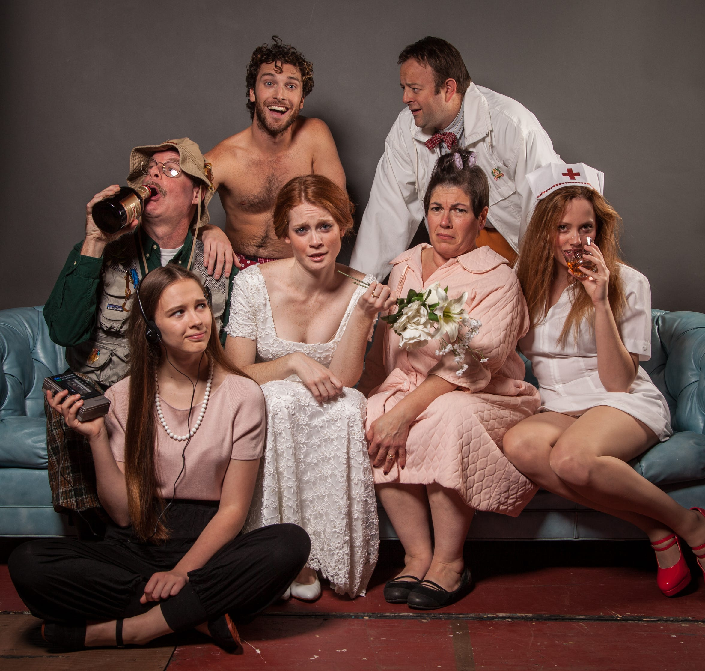 "Starring in the Cider Mill Playhouse 2014 production of ""One Slight Hitch"" were, clockwise from bottom left, Julia Black, Tom Byrn, Ben Williamson, Brendan Curtin, Kerrin Hawkins, Maria Manzano-Johnson and Lindsay Ryan."