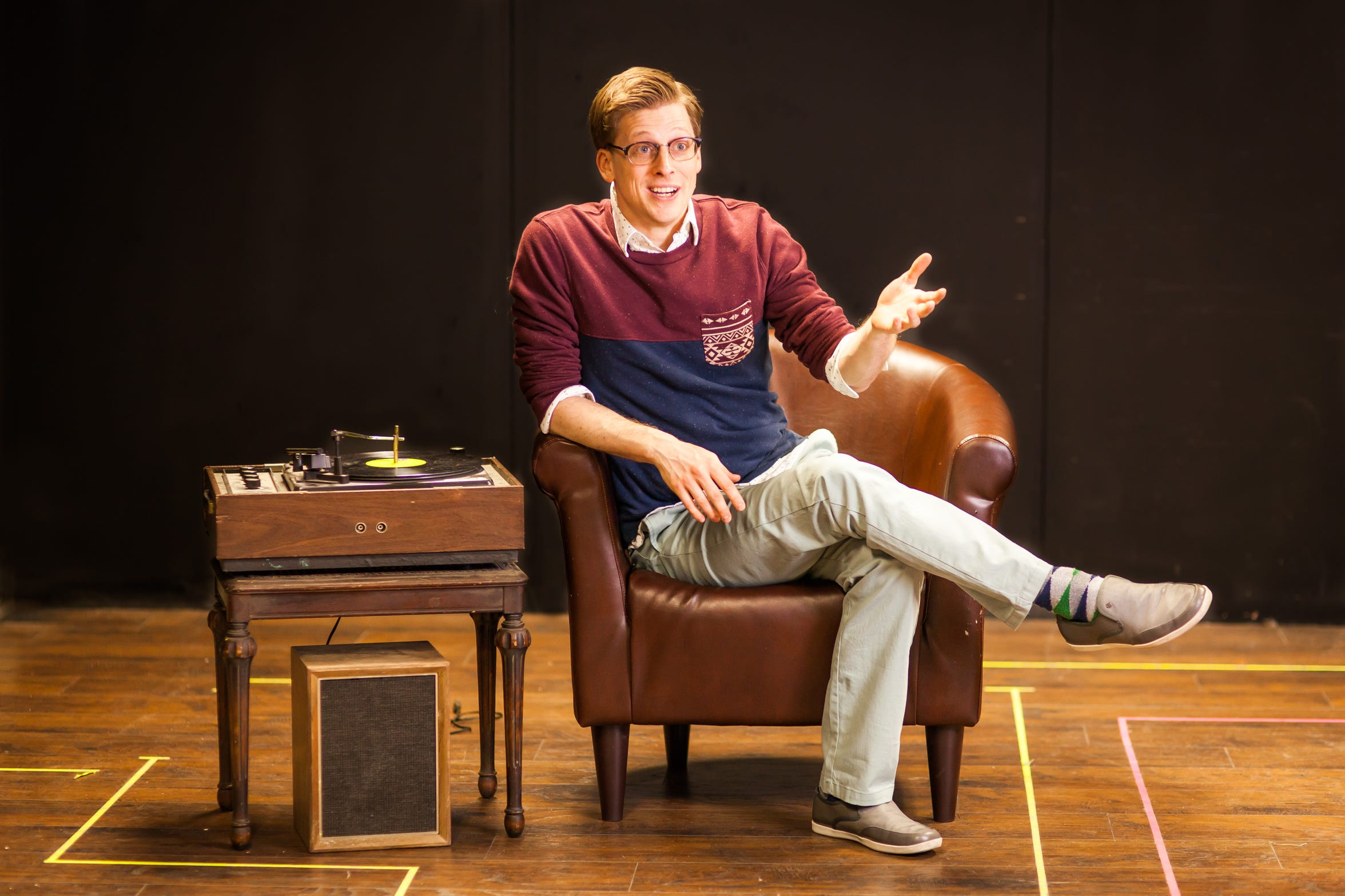 """Joshua Sedelmeyeras the narrator The Man in Chair in the Cider Mill Playhouse production of """"The Drowsy Chaperone"""" in 2017."""