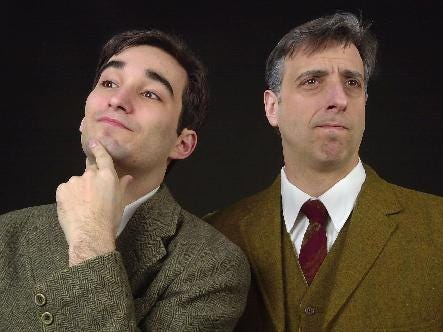 "Deric McNish, left, and Mark Roth in the Cider Mill Playhouse production of ""The Hothouse"" in 2001."
