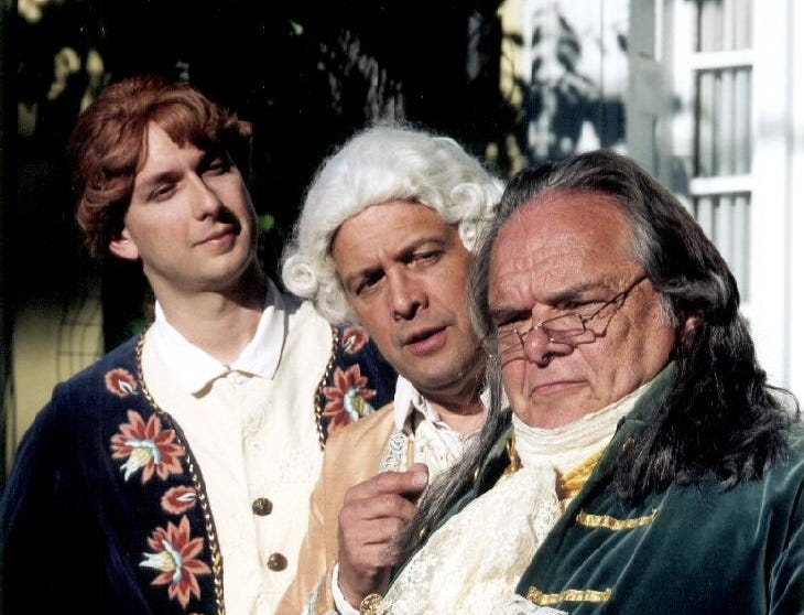 "Cider Mill Playhouse's ""1776"" with Claus Evans as Benjamin Franklin in 2001."