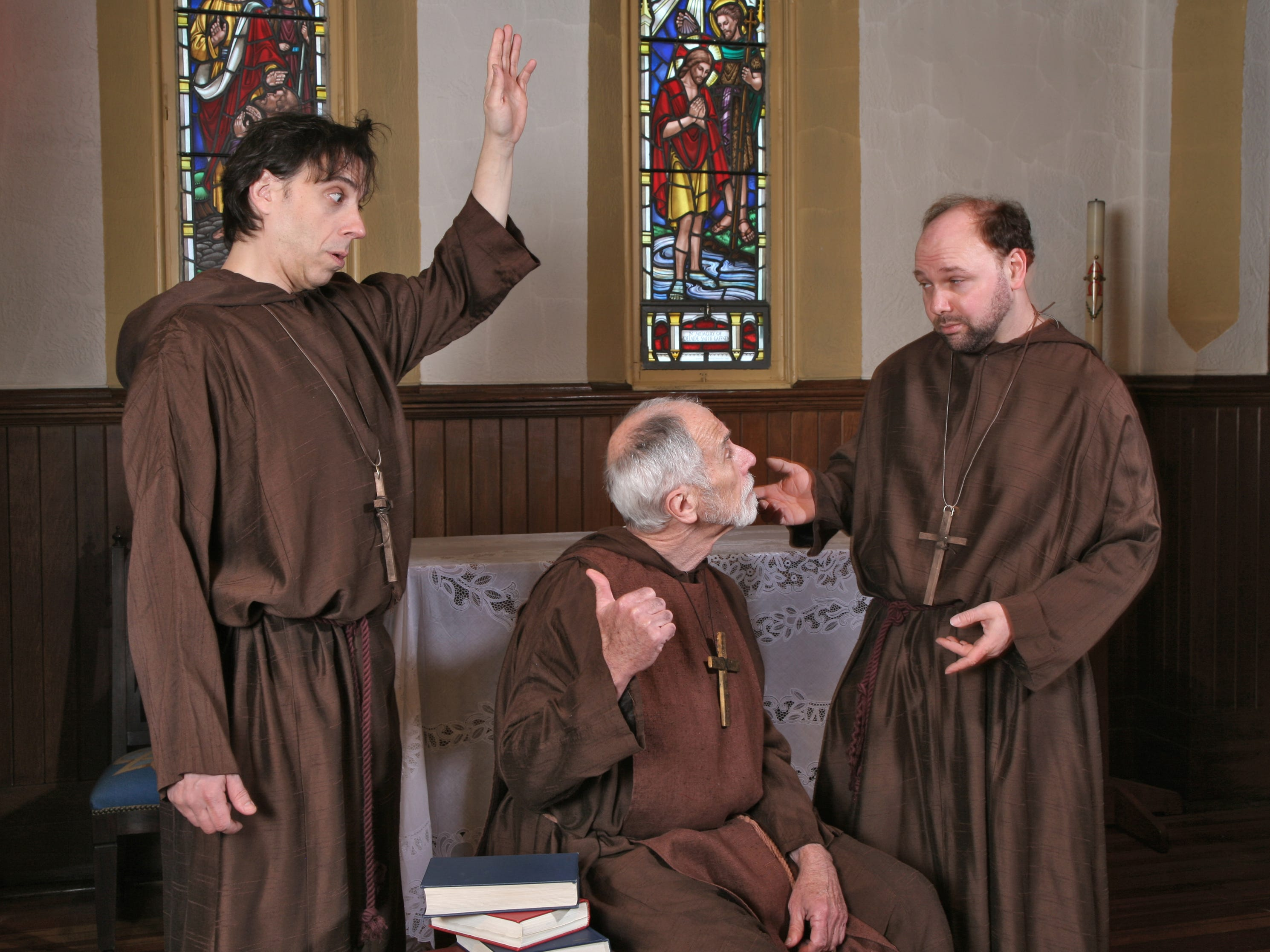 "From left, Mark Roth, Bill Gorman and Mark Bader were the money-strapped monks of Priseaux in the Cider Mill Playhouse production of ""Incorruptible"" in 2007."