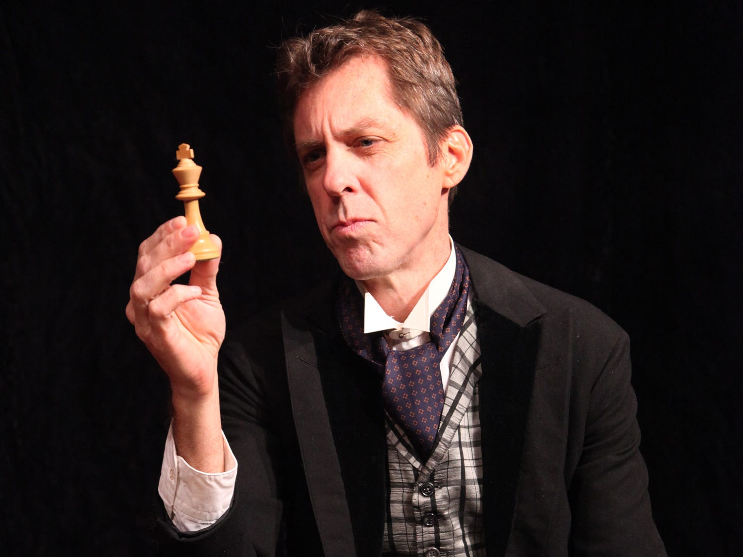 "Dennis Fox as the master detective in the world premiere of ""Sherlock Holmes - Knight's Gambit"" at Cider Mill Playhouse in 2013."
